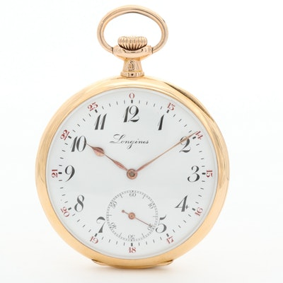 Antique Longines 18K Yellow Gold Open Face Pocket Watch, Circa 1920