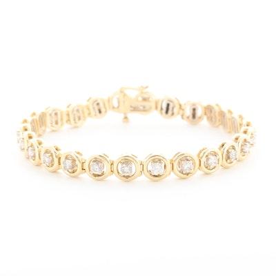 14K Yellow Gold 3.12 CTW Diamond Hinged Link Bracelet