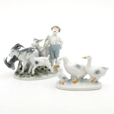 Porcelain Figurines Including Gerold & Co. Boy with Goats, Vintage