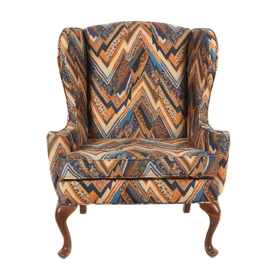 Stratford Designs Queen Anne Style Custom Upholstered Wingback Armchair Ebth