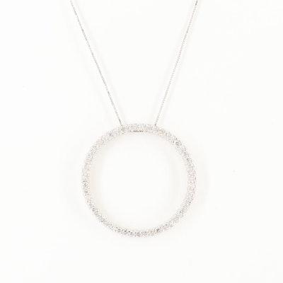 14K White Gold 1.45 CTW Diamond Circle Pendant Necklace