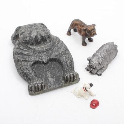 Metal Bulldog Plaque and Figurine Including Blecher, Vintage