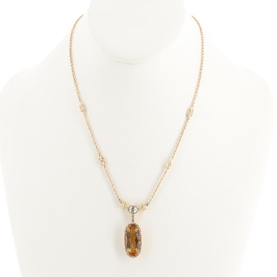 14K Yellow Gold Citrine, Prasiolite and Diamond Necklace