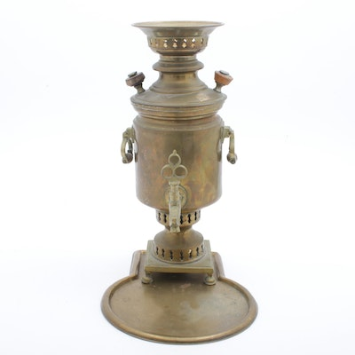 Russian Brass Samovar with Tray
