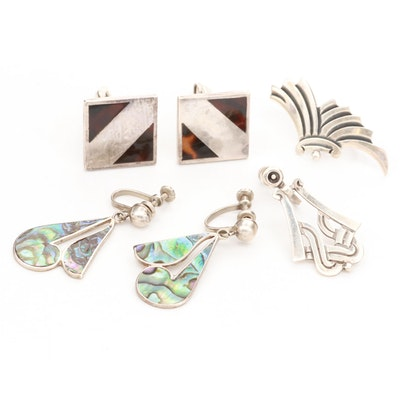 Taxco Mexican Sterling Silver Abalone and Resin Earrings and Cufflinks