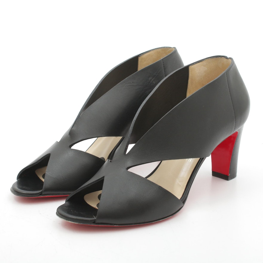 Christian Louboutin Creve Coeur 70 Peep-Toe Cut-Out Pumps in Black