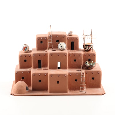 Miniature Taos Pueblo Style Sculpture with Hand-Painted Mini Pottery Vases