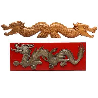 Chinese Dragon Brass Plaque and Wood Carving, Mid-Late 20th Century