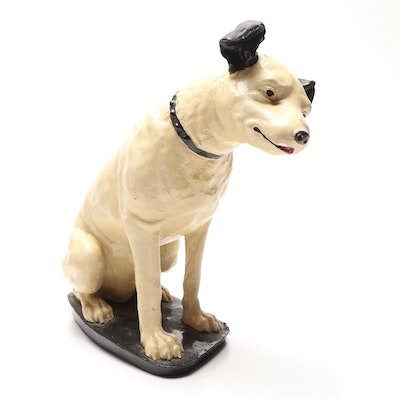 "RCA Victor ""Nipper"" Dog Chalkware Advertising Store Display, 1930s"