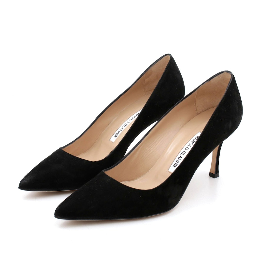 Manolo Blahnik Black Suede High-Heeled Pumps