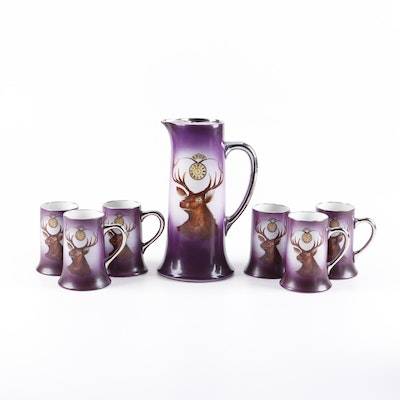 Elks Lodge Hand Embellished Ceramic and Silver Plate Pitcher and Tankards