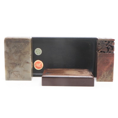 Japanese and Chinese Carved Onyx Seal Stamps and Ink Stones, Mid-20th Century