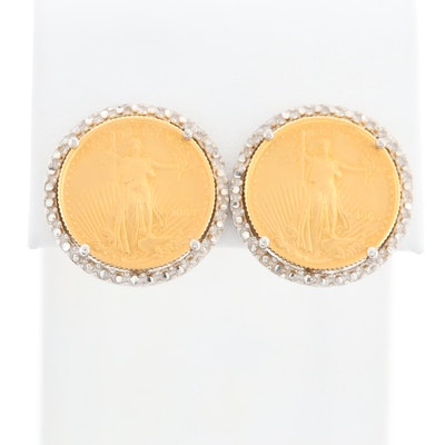 14K White Gold Earrings with 2005 $5 Gold Eagle 1/10 Oz. Bullion Coins
