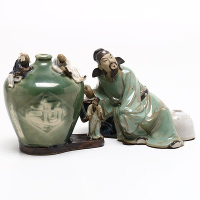 Chinese Stoneware Figurine and Bud Vase
