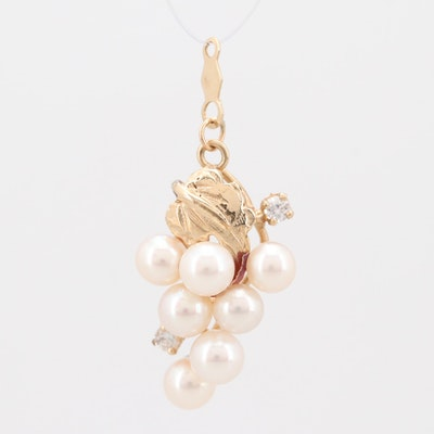 """14K Yellow Gold Diamond and Cultured Freshwater Pearl """"Grape Bunch"""" Pendant"""