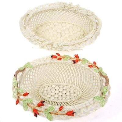 Belleek Hand Painted Porcelain Tulip Basket and Belleek Porcelain Basket