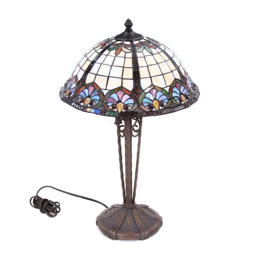 Cast Metal Table Lamp with Slag Glass Dome Shade, Contemporary