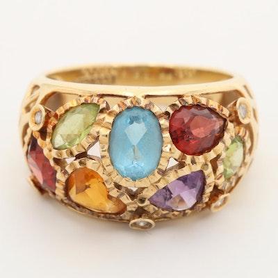 18K Yellow Gold Peridot, Amethyst, Citrine, Garnet, Blue Topaz and Diamond Ring