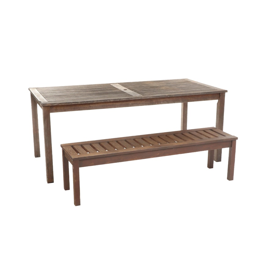 Strange Rustic Slat Top Wooden Harvest Table With Bench 20Th Century Alphanode Cool Chair Designs And Ideas Alphanodeonline