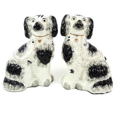 Staffordshire Spaniel Porcelain Figurines, 19th Century