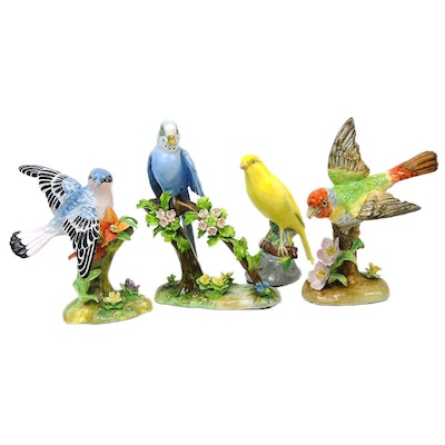 Staffordshire Porcelain Bird Figurines and Spode Porcelain Bird Figurine