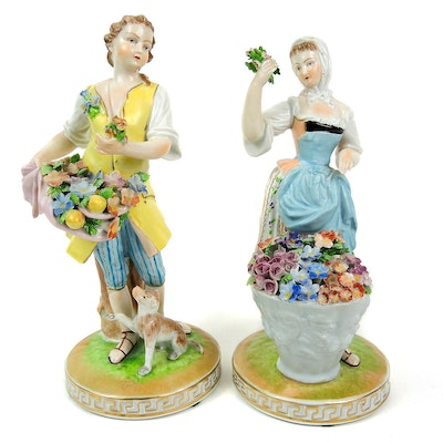 Dresden Saxony Porcelain Figurines of Boy and Girl with Flowers