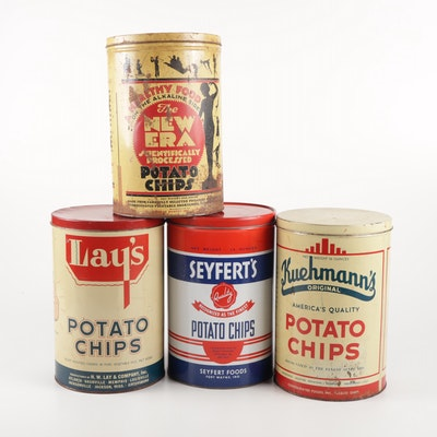 Potato Chip Storage Tins, Mid-Century
