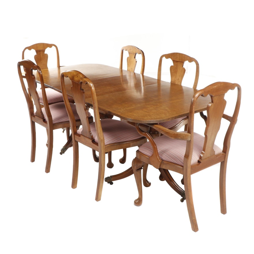 Queen Anne Fiddle Back Chairs And Burl Veneered Double Pedestal Dining Table