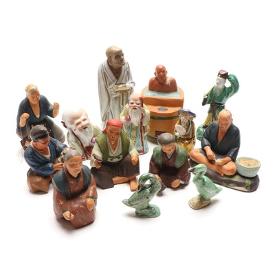 Chinese Shiwan Ware Hand Painted Stoneware and Porcelain Figurines, Vintage