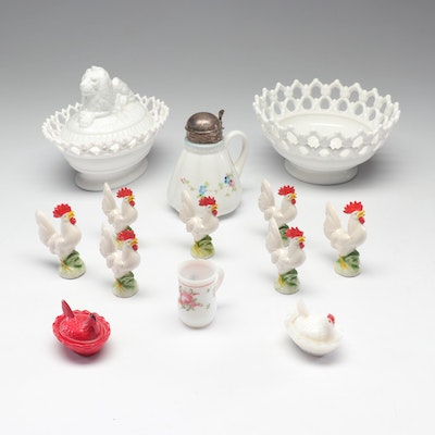 Milk Glass Tableware and Porcelain Rooster Figurines, Early to Mid 20th Century