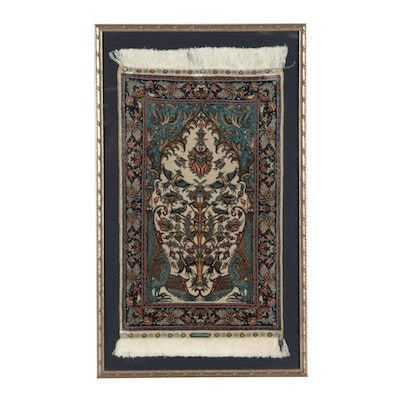 Hand-Knotted Turkish Silk Hereke Framed Pictorial Prayer Rug