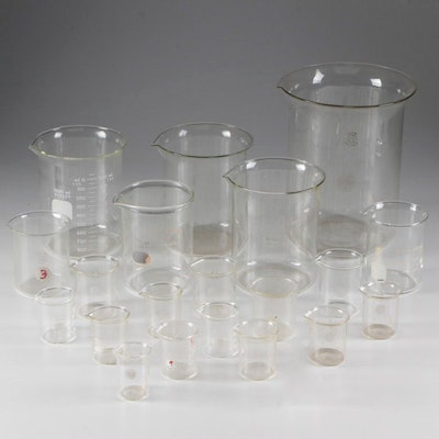 Glass Beakers including Pyrex and Bomex