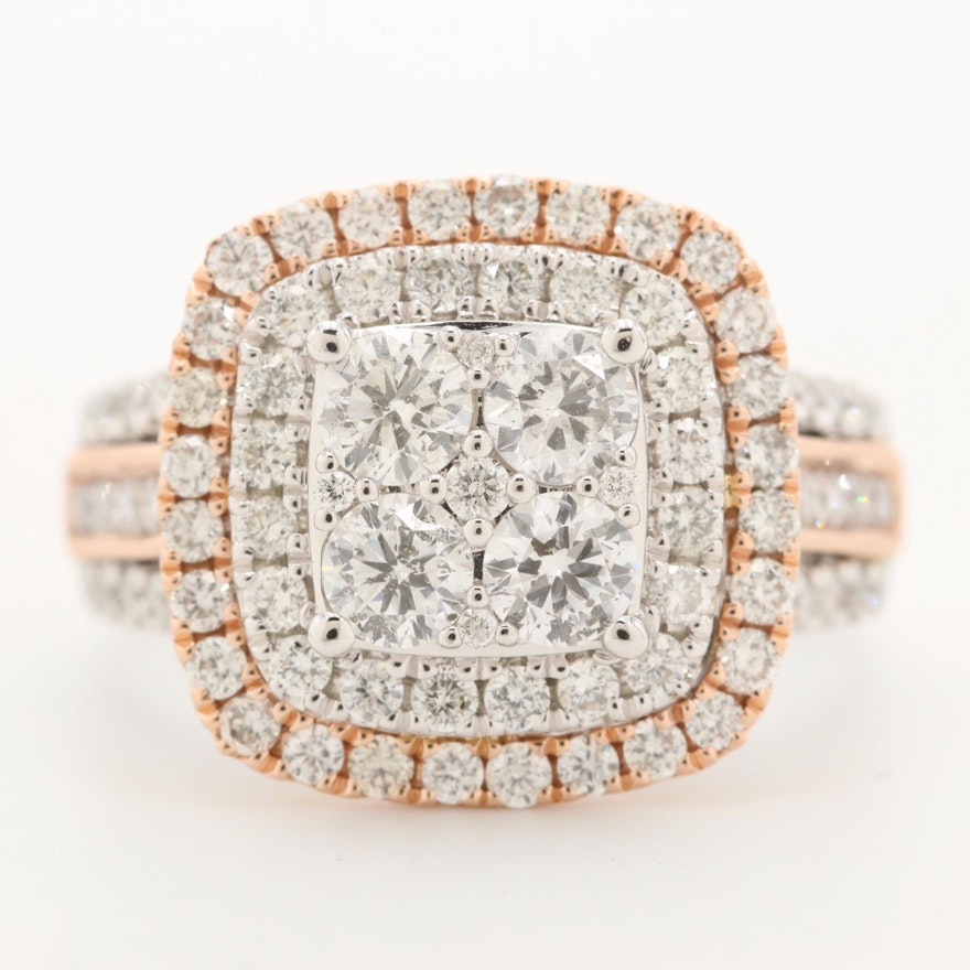 14K White Gold 2.01 CTW Diamond Ring with Rose Gold Accents