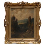 L. Fischer Landscape Oil Painting in Style of Hudson River School