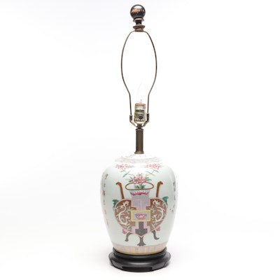 Chinese Famille Rose Porcelain Vase on Stand, Late Republic Period
