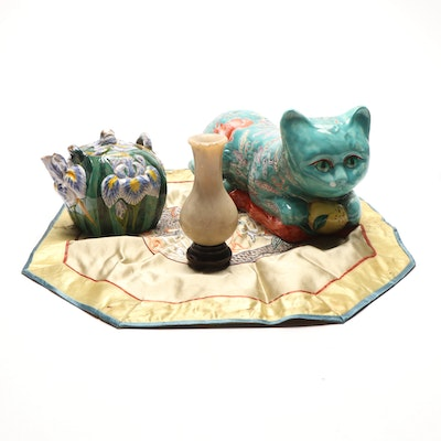 Decorative Figurines and Serveware Including Teapot, Vase, Feline, and Bird