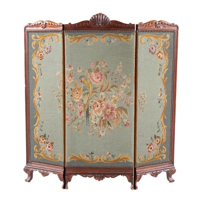 French Provincial Style Mahogany and Needlepoint Fireplace Screen