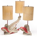 Plastco Mfg. Co. Red and White Sculptured Abstract Table Lamps, Mid-Century