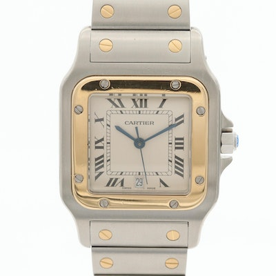 Cartier Santos de Cartier Galbee 18K Gold and Stainless Steel Wristwatch