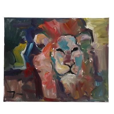 "Jose Trujillo Oil Painting ""The Lion"""