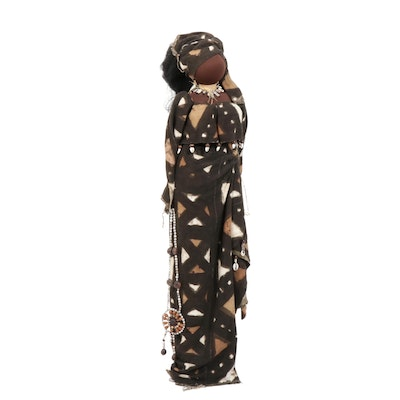 """Lorrie Payne African Style Mixed Media Doll Sculpture """"Tumpe"""""""