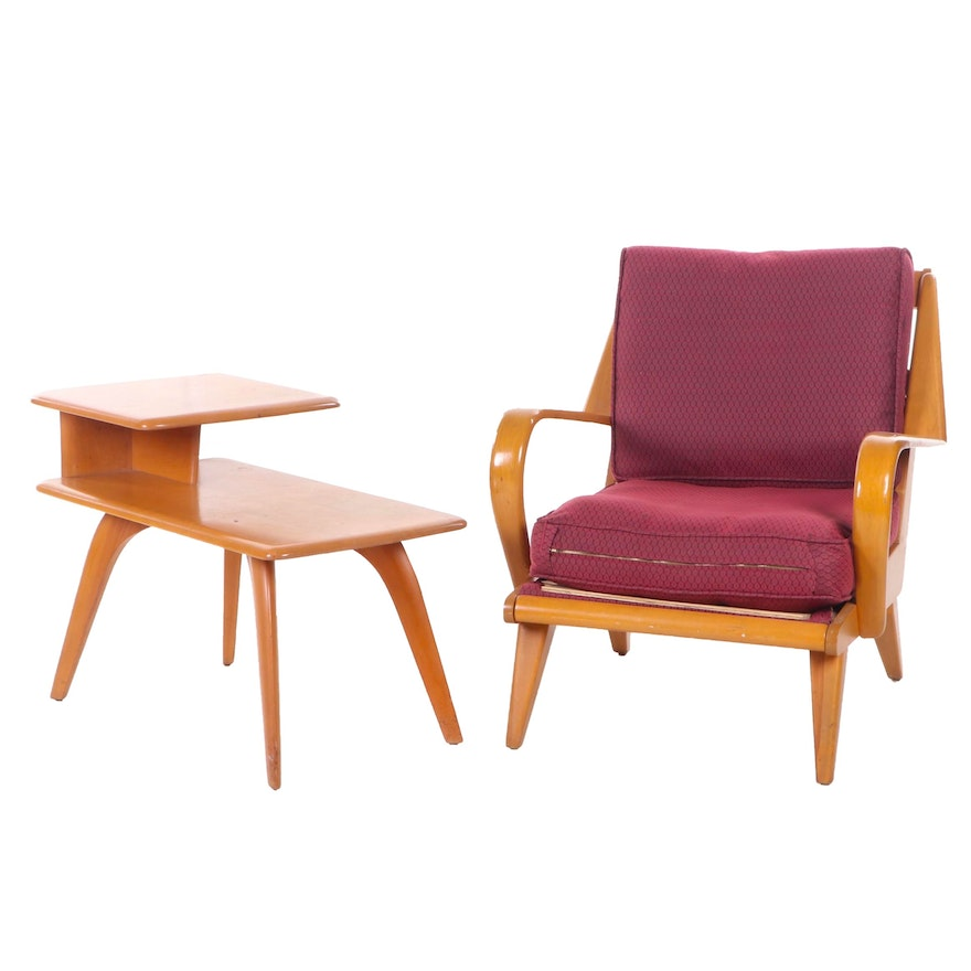 Sensational Heywood Wakefield Mid Century Modern Armchair And Step Back Side Table Ocoug Best Dining Table And Chair Ideas Images Ocougorg