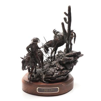 """Bruce André Bronze Sculpture """"It Takes a Mule"""""""