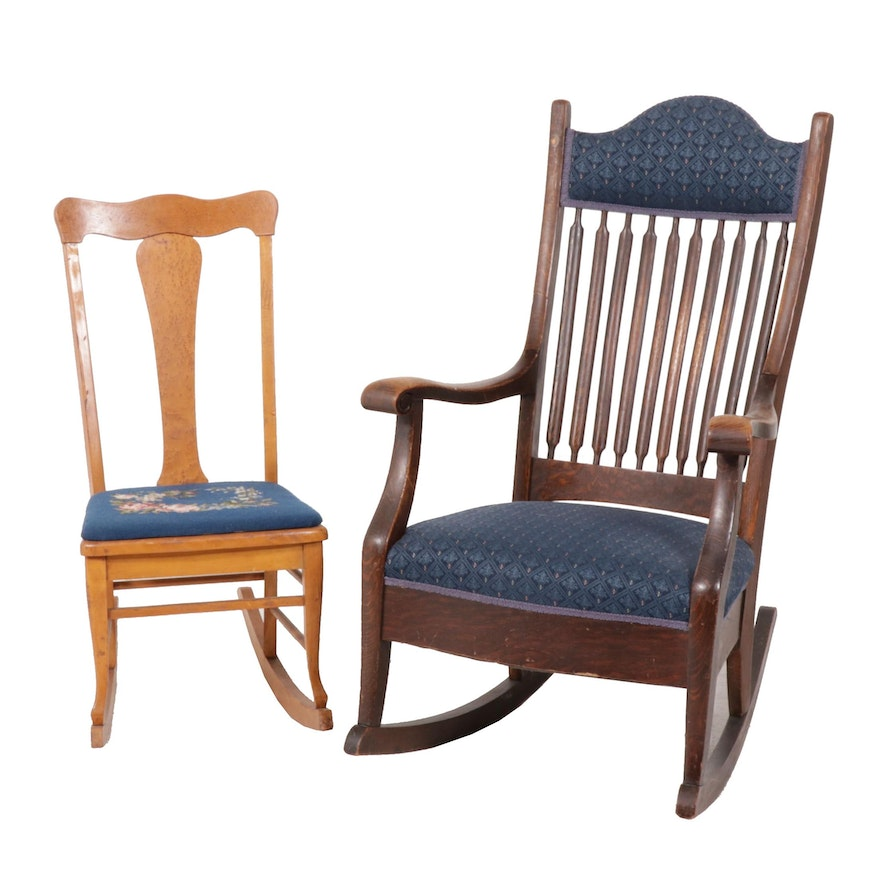 Terrific Upholstered Fiddleback And Bannister Back Rocking Chairs Inzonedesignstudio Interior Chair Design Inzonedesignstudiocom