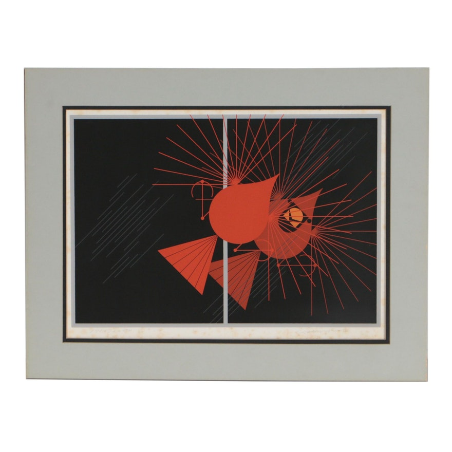 "Charley Harper 1977 Serigraph ""Seeing Red"""