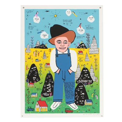 "Howard Finster Limited Edition Serigraph ""Elvis at 3 is a Angel to Me"""