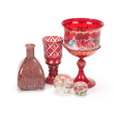 Red Glass Housewares and Paperweights