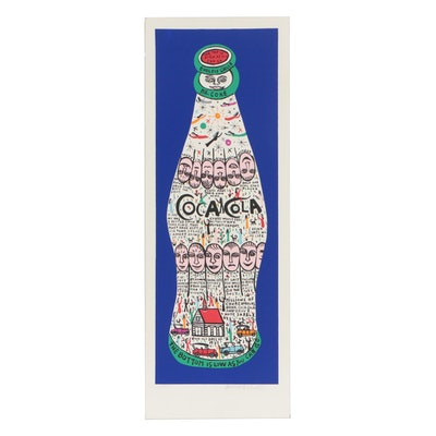 "Howard Finster Limited Edition Serigraph ""Coke Bottle"""