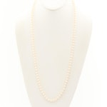 Hand Knotted Cultured Pearl Necklace with 14K Yellow Gold Clasp