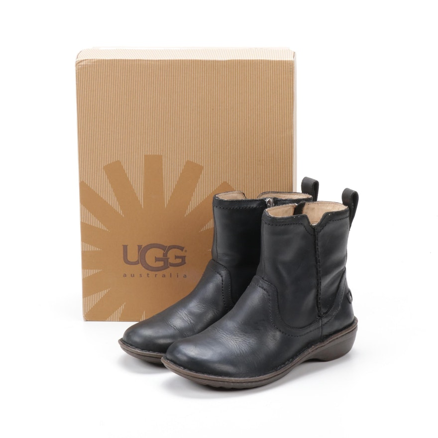 UGG Australia Neevah Black Leather Ankle Boots